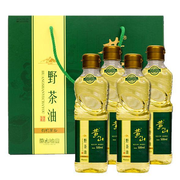 黄山野生山茶油500ml*4塑瓶礼品装物理压榨天然有机木本植物油